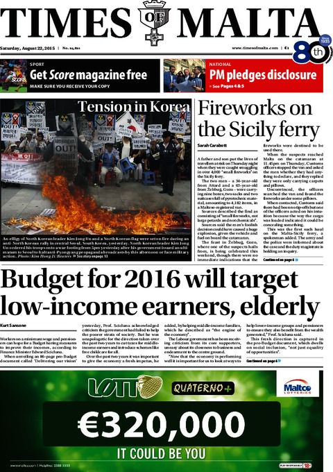 Times of Malta e-Paper - Friday, August 21, 2015