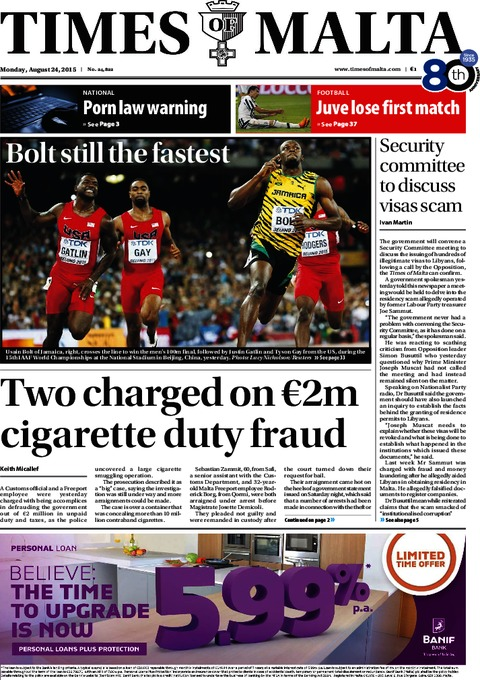 Times of Malta e-Paper - Sunday, August 23, 2015