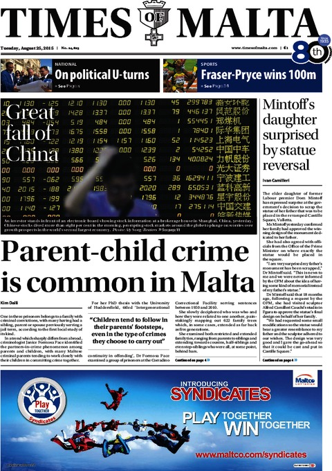 Times of Malta e-Paper - Monday, August 24, 2015