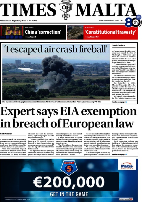 Times of Malta e-Paper - Wednesday, August 26, 2015