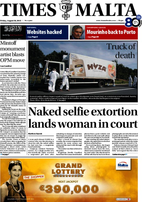 Times of Malta e-Paper - Thursday, August 27, 2015