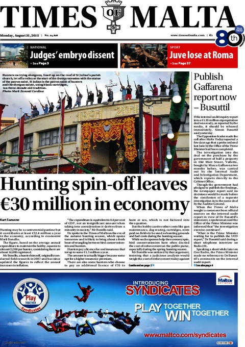 Times of Malta e-Paper - Sunday, August 30, 2015