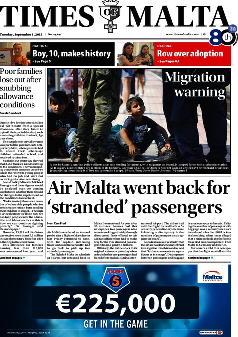 Times of Malta e-Paper - Monday, August 31, 2015