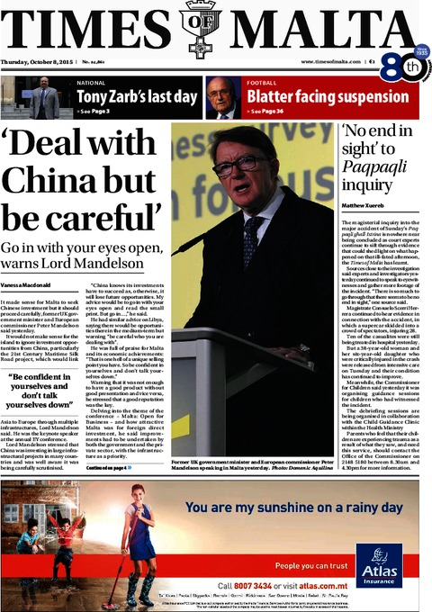 Times of Malta e-Paper - Wednesday, October 7, 2015