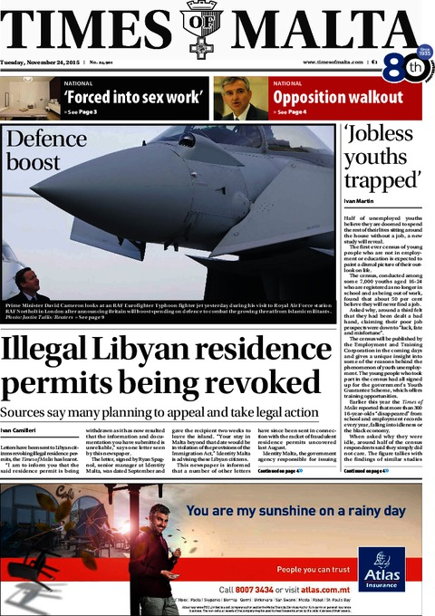 Times of Malta e-Paper - Monday, November 23, 2015