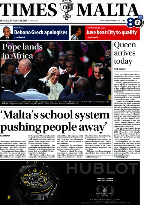 Times of Malta e-Paper - Wednesday, November 25, 2015