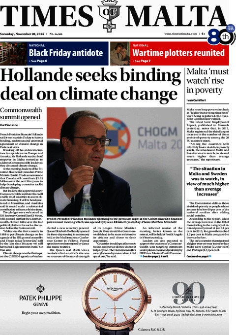 Times of Malta e-Paper - Friday, November 27, 2015