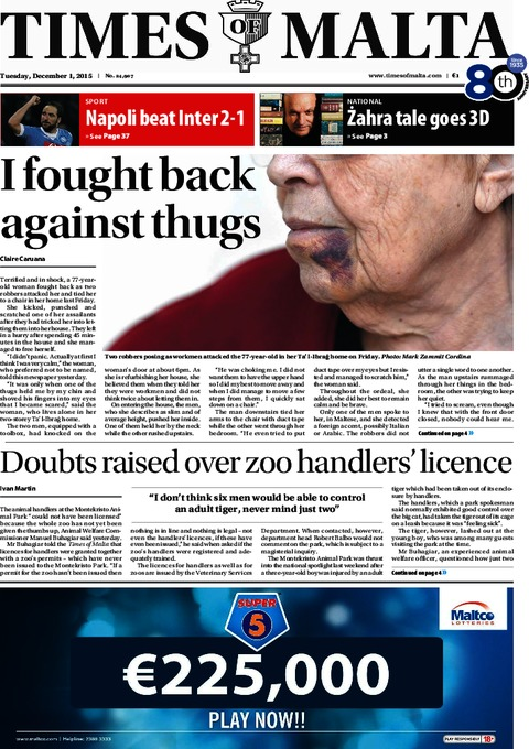 Times of Malta e-Paper - Tuesday, December 1, 2015