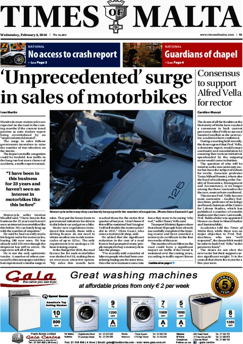 Times of Malta e-Paper - Wednesday, February 3, 2016