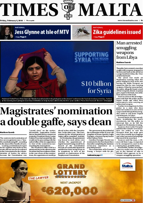 Times of Malta e-Paper - Thursday, February 4, 2016