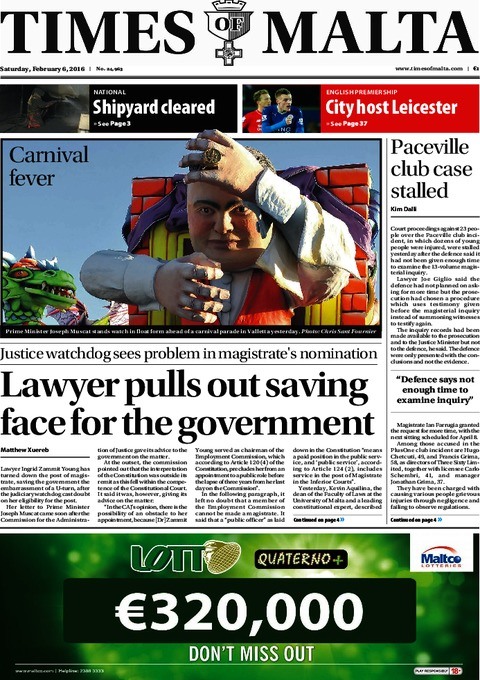 Times of Malta e-Paper - Saturday, February 6, 2016