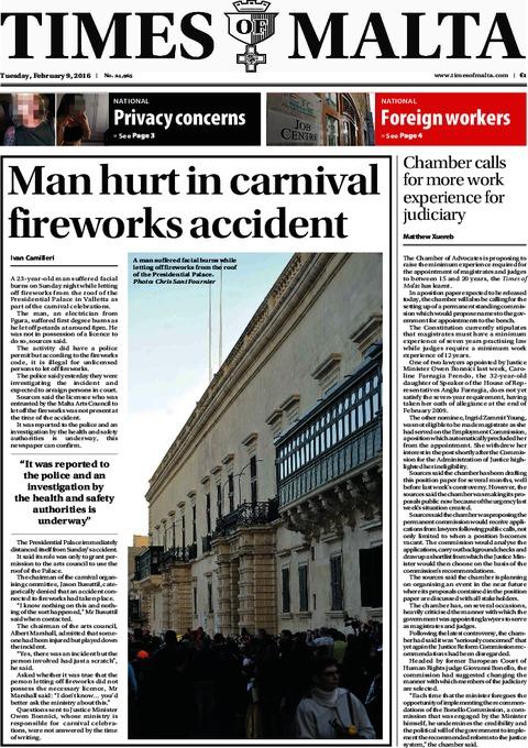 Times of Malta e-Paper - Monday, February 8, 2016