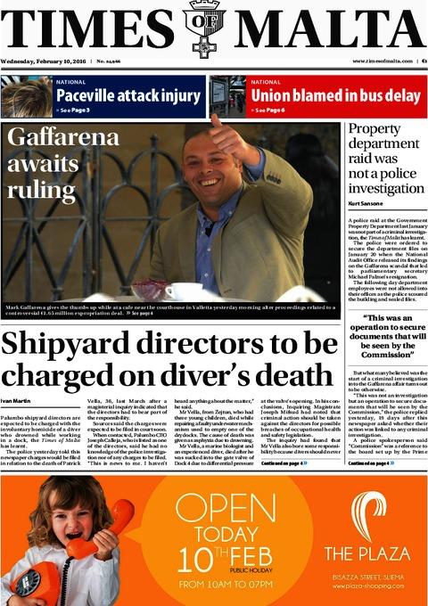 Times of Malta e-Paper - Tuesday, February 9, 2016