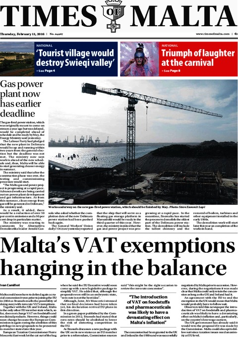 Times of Malta e-Paper - Wednesday, February 10, 2016
