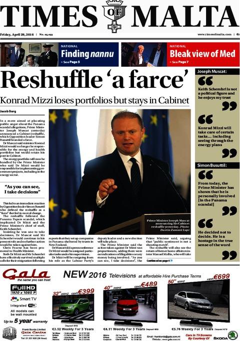 Times of Malta e-Paper - Thursday, April 28, 2016