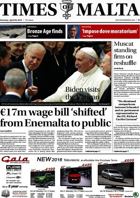 Times of Malta e-Paper - Friday, April 29, 2016