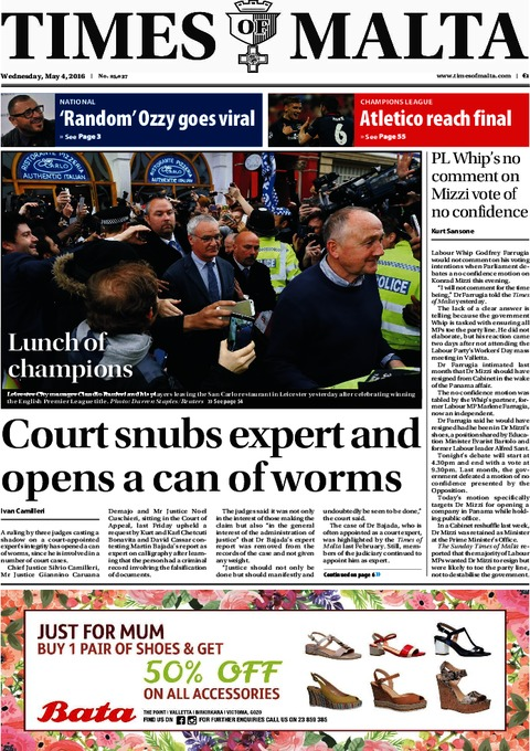 Times of Malta e-Paper - Tuesday, May 3, 2016