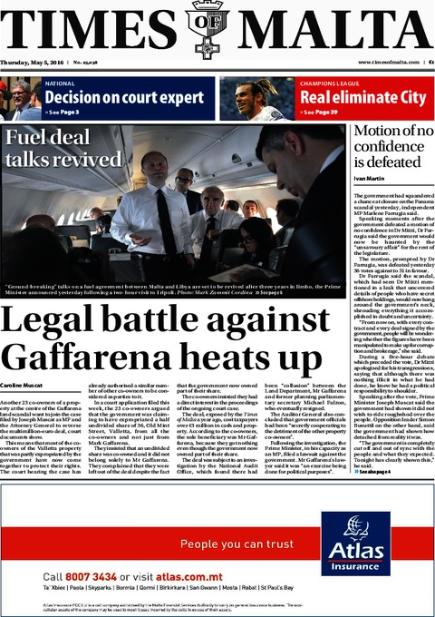 Times of Malta e-Paper - Thursday, May 5, 2016
