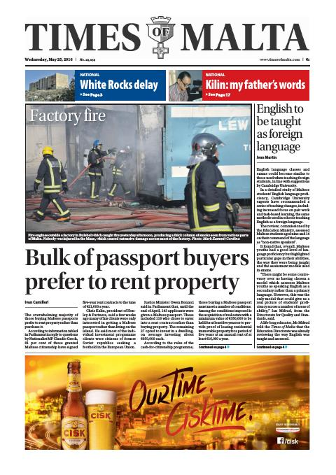 Times of Malta - Wednesday, May 25, 2016