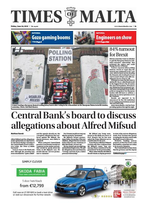 Times of Malta - Friday, June 24, 2016