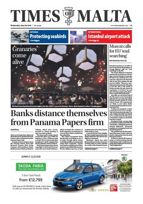 Times of Malta - Wednesday, June 29, 2016