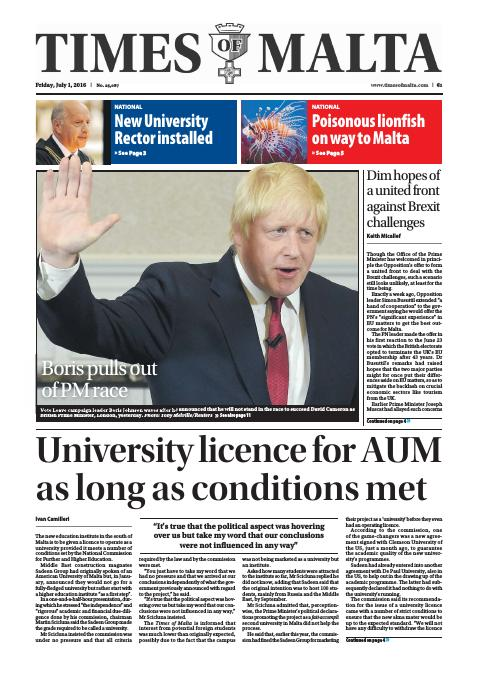 Times of Malta - Friday, July 1, 2016