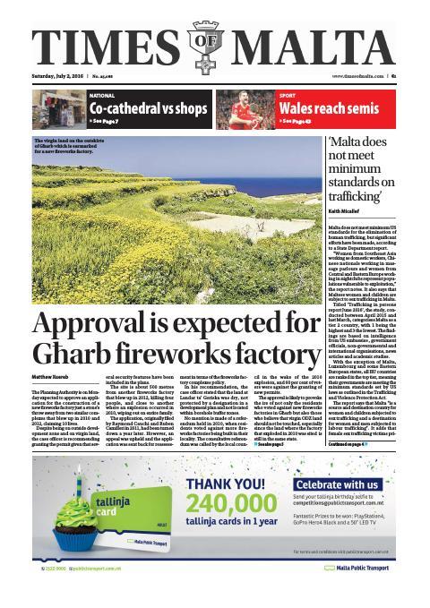 Times of Malta - Saturday, July 2, 2016