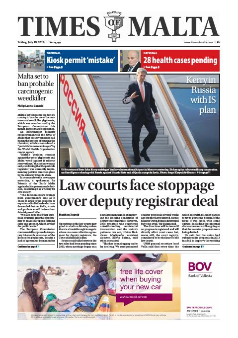 Times of Malta - Friday, July 15, 2016
