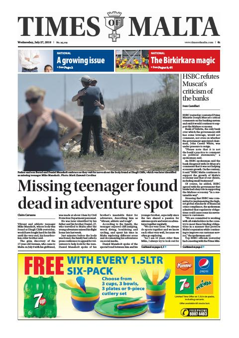 Times of Malta - Wednesday, July 27, 2016