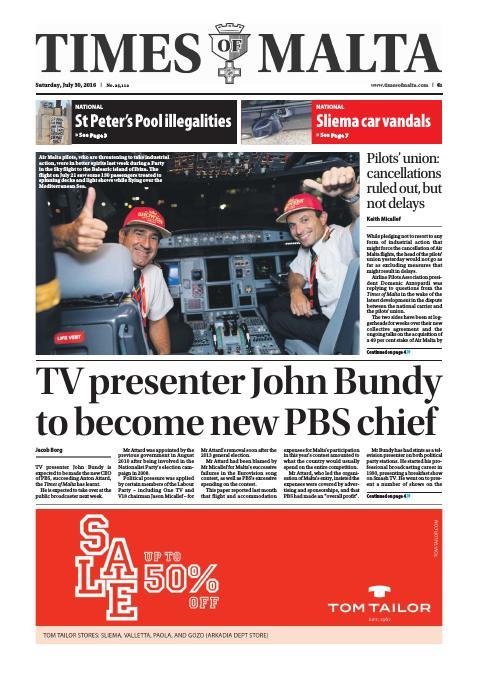Times of Malta - Saturday, July 30, 2016