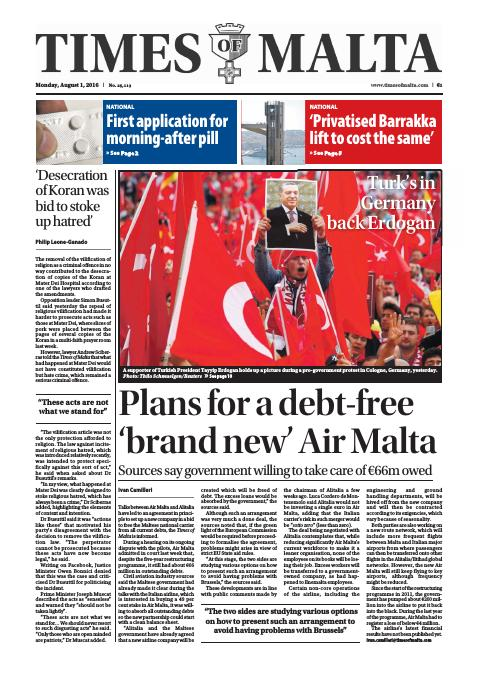 Times of Malta - Monday, August 1, 2016