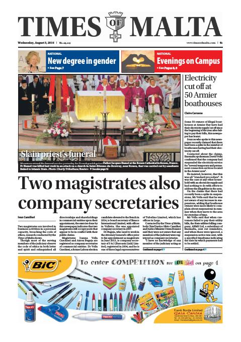 Times of Malta - Wednesday, August 3, 2016