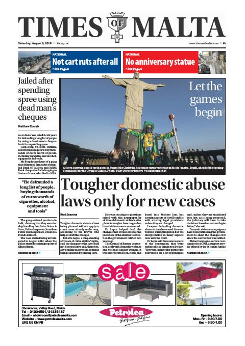 Times of Malta - Saturday, August 6, 2016