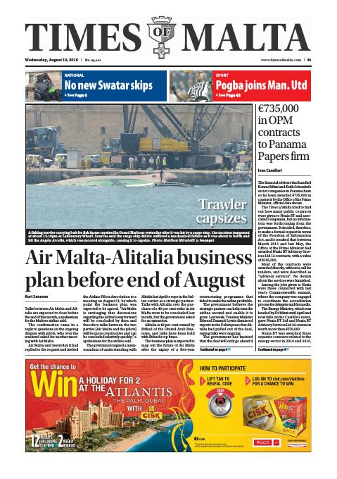 Times of Malta - Wednesday, August 10, 2016