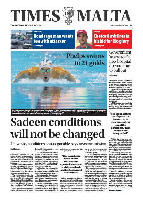 Times of Malta - Thursday, August 11, 2016
