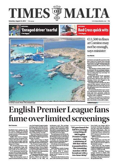 Times of Malta - Saturday, August 13, 2016