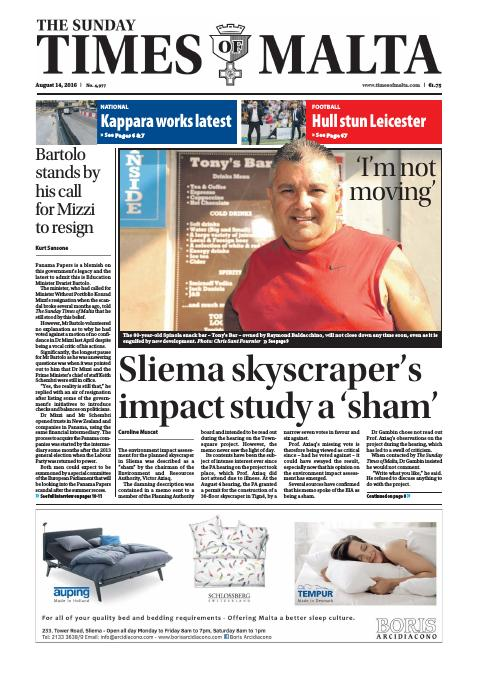 Times of Malta - Sunday, August 14, 2016