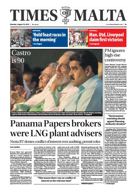 Times of Malta - Monday, August 15, 2016