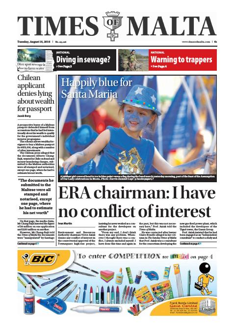 Times of Malta - Tuesday, August 16, 2016