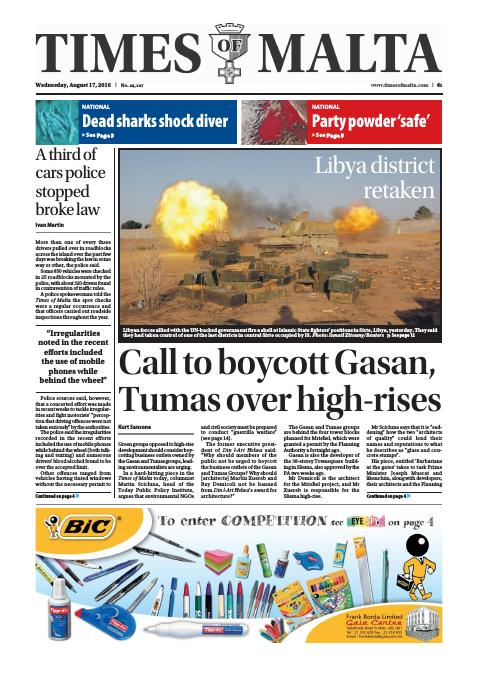 Times of Malta - Wednesday, August 17, 2016