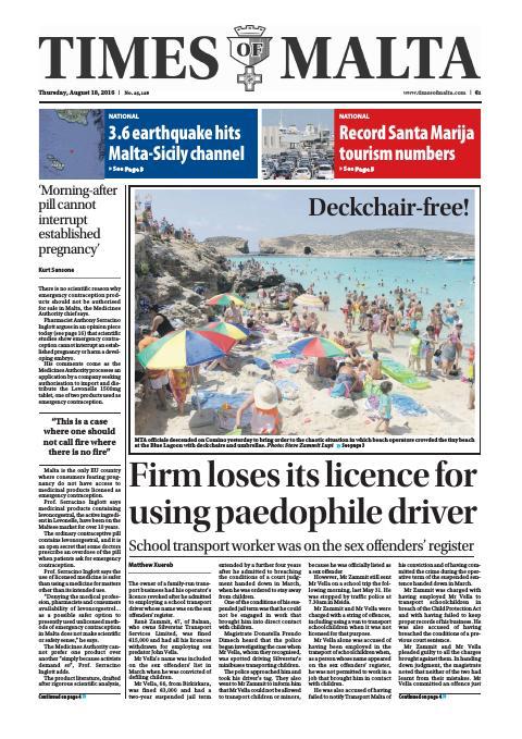 Times of Malta - Thursday, August 18, 2016