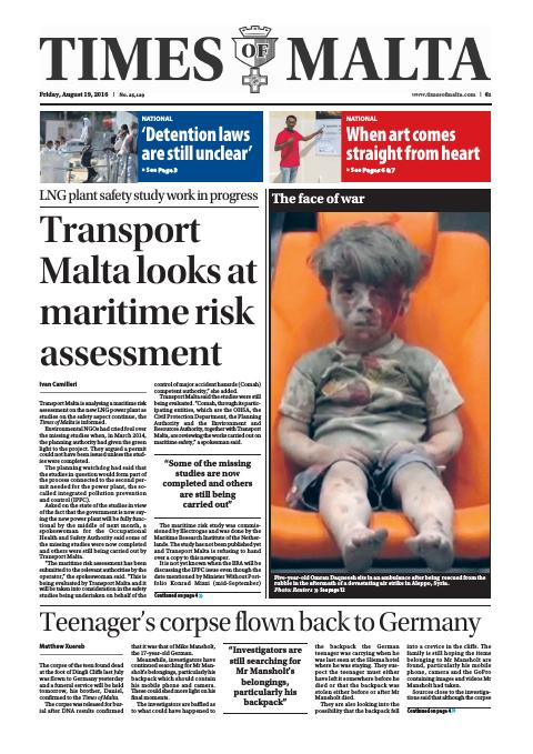 Times of Malta - Friday, August 19, 2016