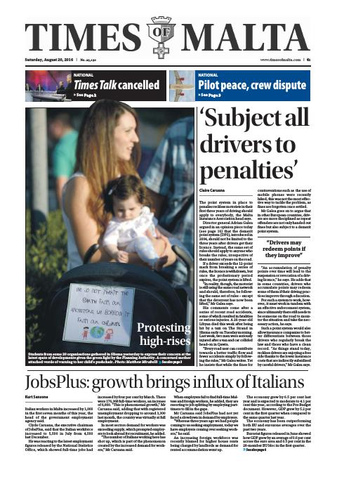 Times of Malta - Saturday, August 20, 2016
