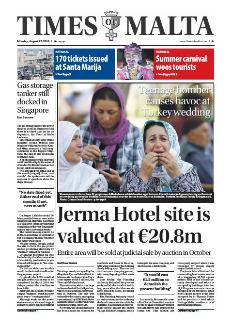 Times of Malta - Monday, August 22, 2016