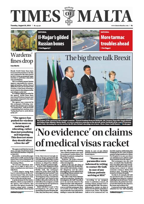 Times of Malta - Tuesday, August 23, 2016