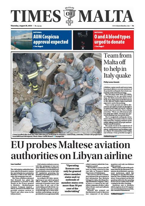 Times of Malta - Thursday, August 25, 2016