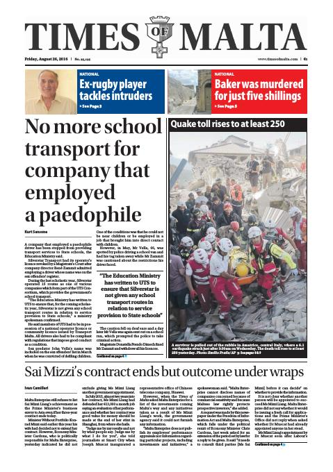Times of Malta - Friday, August 26, 2016