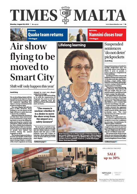 Times of Malta - Monday, August 29, 2016