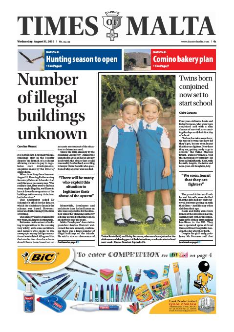 Times of Malta - Wednesday, August 31, 2016