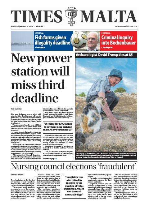 Times of Malta - Friday, September 2, 2016